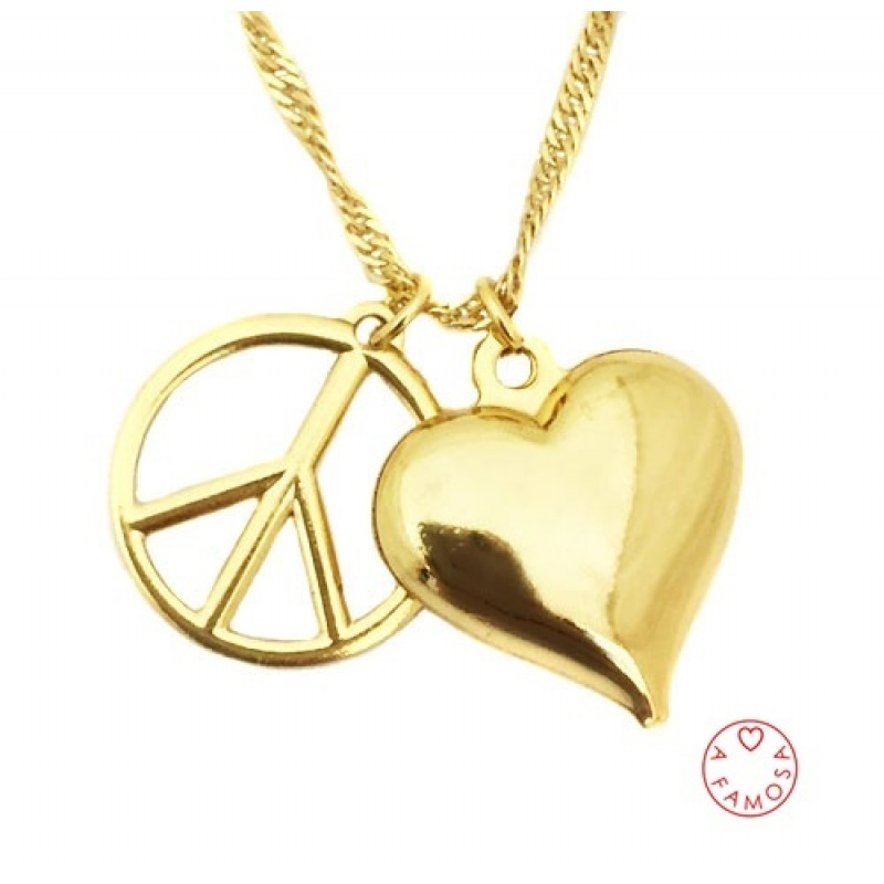 Colar Teen Peace+Love Folheado